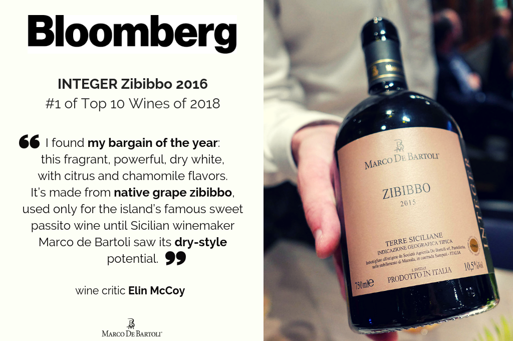 Lo Zibibbo Integer 2016 al 1° posto della Top 10 Wines of 2018 di Bloomberg